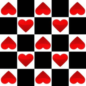Ilustração de textura perfeita com tabuleiro de xadrez e pequenos corações vermelhos