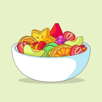 Ilustração de tigela de frutas e saladas