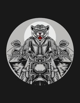 Ilustração de tigre andando de motocicleta