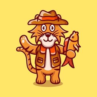 Ilustração de tigre fofo pegando peixes