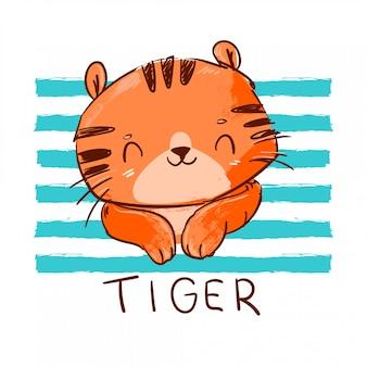 Ilustração de tigre fofo.