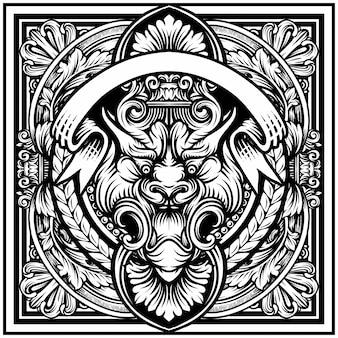 Ilustração de tigre, gravura de armação de borda vintage com padrão retrô no projeto decorativo antigo estilo rococó