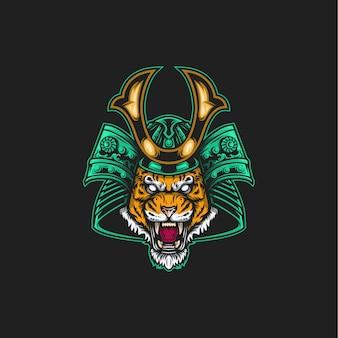 Ilustração de tigre samurai