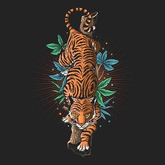 Ilustração de tigre zangado