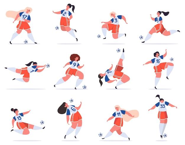 Ilustração de time feminino de futebol com bola