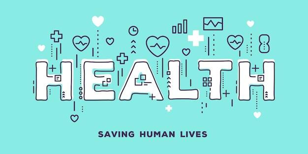 Ilustração de tipografia de palavra branca de saúde com ícones de linha
