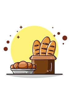 Ilustração de tipos de pão