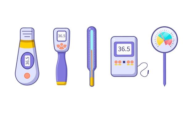 Ilustração de tipos de termômetro plano