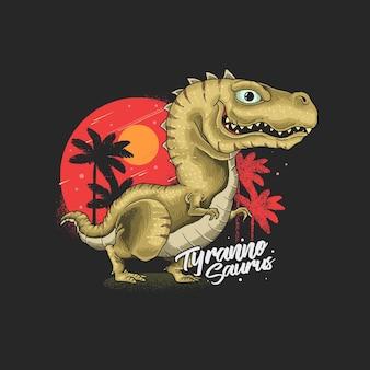Ilustração de tiranossauro fofo