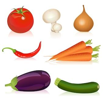 Ilustração de tomate, cogumelo, cebola, cenoura, pimenta, berinjela e abobrinha