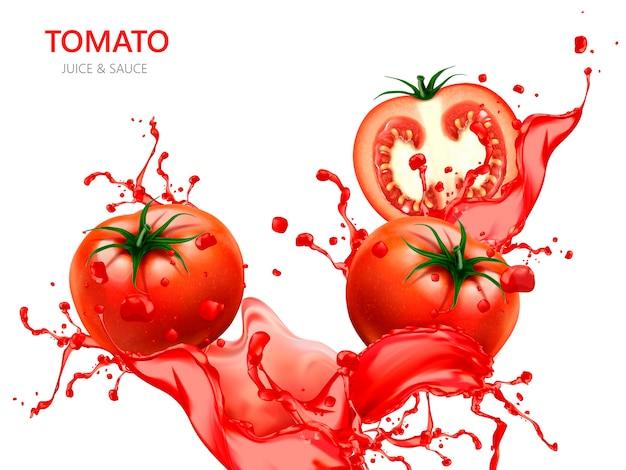 Ilustração de tomate fresco com suco