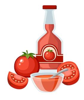 Ilustração de tomates frescos e ketchup inteiros e meio cortados
