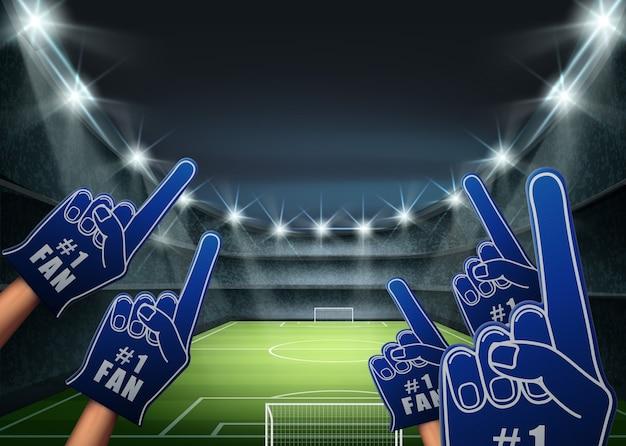 Ilustração de torcedores na tribuna com holofote brilhante iluminando campo de futebol verde