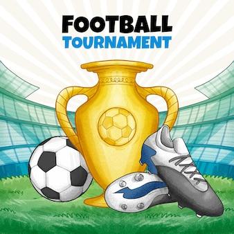 Ilustração de torneio de futebol desenhado à mão