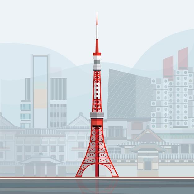 Ilustração, de, torre tóquio