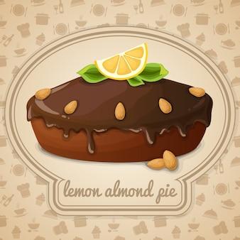 Ilustração de torta de amêndoa de limão