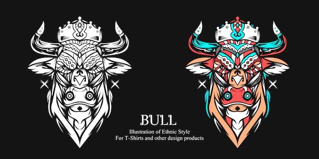 Ilustração de touro com estilo étnico