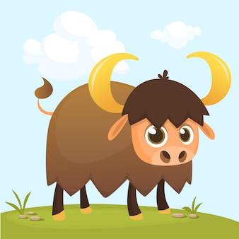 Ilustração de touro engraçado dos desenhos animados