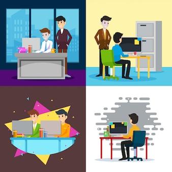 Ilustração de trabalhador de co
