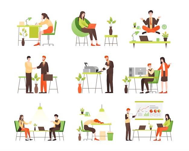 Ilustração de trabalhador de escritório com várias ações e atividades