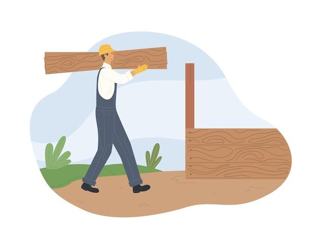 Ilustração de trabalhador ou carpinteiro de engenharia civil trabalhador da construção civil