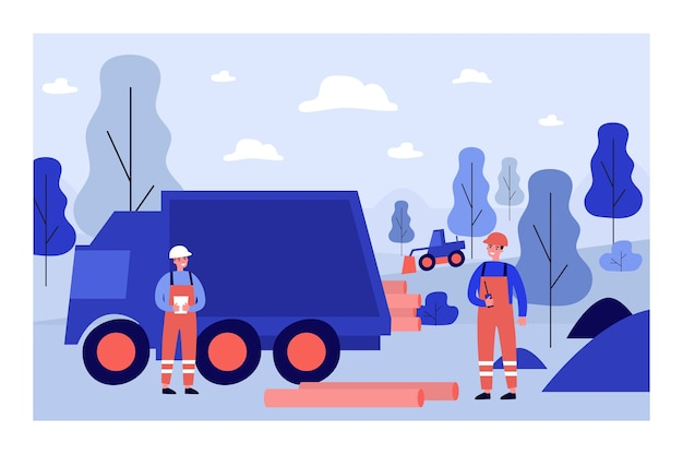 Ilustração de trabalhadores colocando oleodutos
