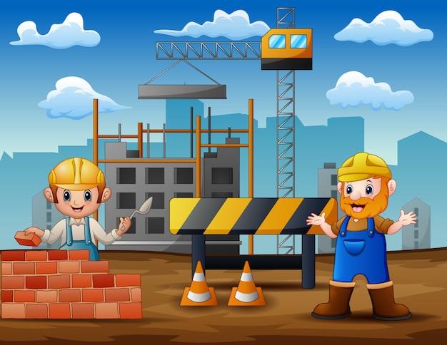 Ilustração de trabalhadores da construção civil em um canteiro de obras