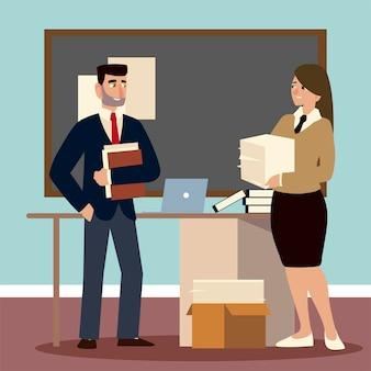Ilustração de trabalhadores de escritório masculino e feminino