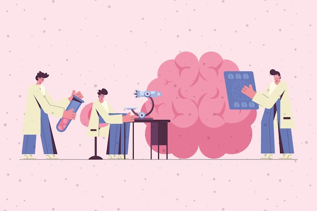 Ilustração de trabalhadores de neurologistas da equipe