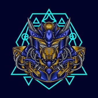 Ilustração de trabalho de arte e cabeça de robô mecha de camiseta com geometria sagrada