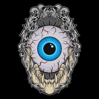 Ilustração de trabalho de arte e ornamento de gravura de bola de olho em camiseta