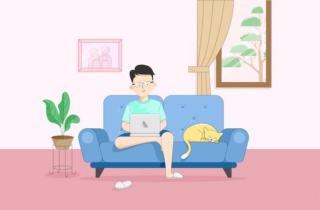 Ilustração de trabalho de caráter juvenil em casa