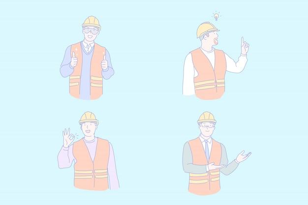 Ilustração de trabalho de engenheiro civil