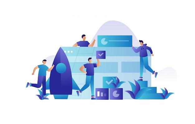 Ilustração de trabalho de equipe de negócios para landing page