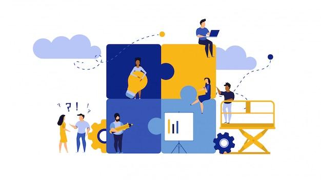 Ilustração de trabalho de equipe de quebra-cabeça