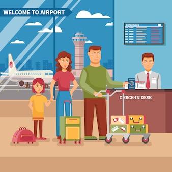 Ilustração de trabalho do aeroporto