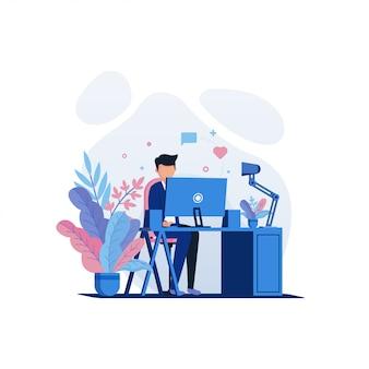 Ilustração de trabalho e escritório