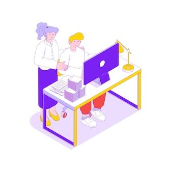 Ilustração de trabalho em equipe com empresários ajudando uns aos outros 3d isométrico