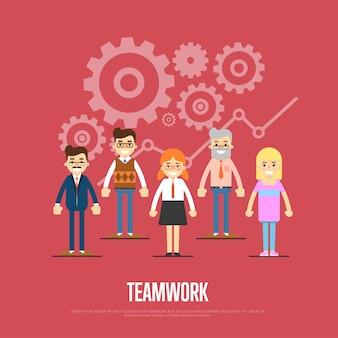 Ilustração de trabalho em equipe com um grupo de pessoas sorridentes