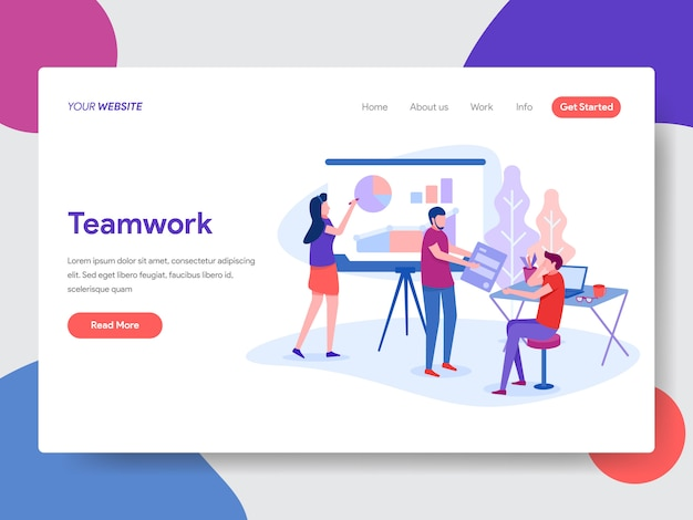 Ilustração de trabalho em equipe de negócios para a página inicial