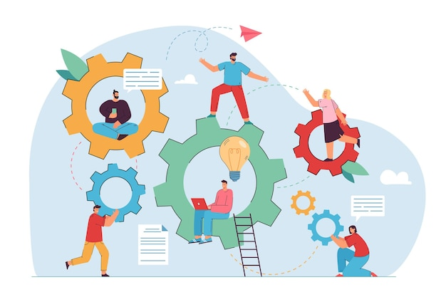 Ilustração de trabalho em equipe e engenharia