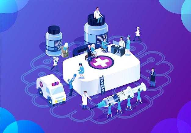 Ilustração de trabalho em equipe moderna tecnologia médica