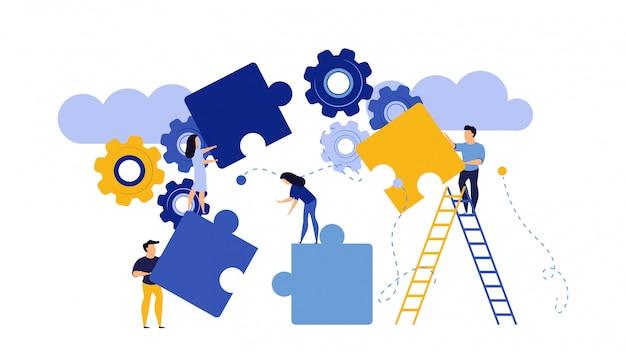 Ilustração de trabalho em equipe peça de quebra-cabeça