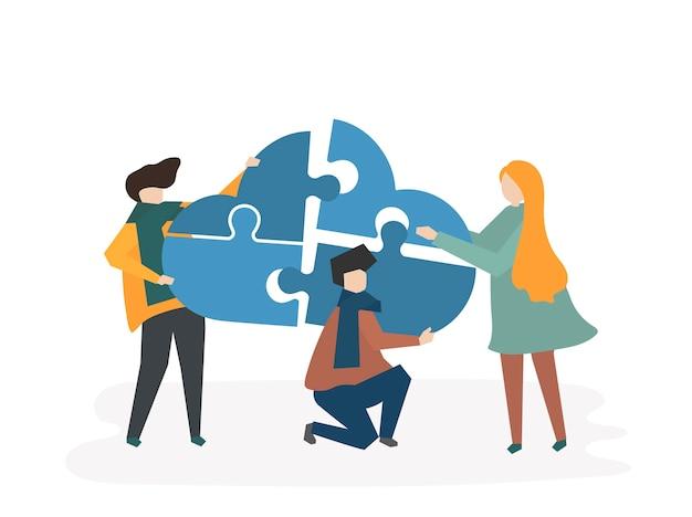 Ilustração, de, trabalho equipe, com, pessoas, conectando, pedaços, de, um, nuvem
