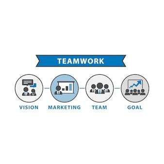 Ilustração, de, trabalho equipe