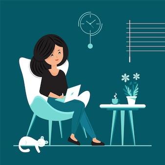 Ilustração de trabalho plano em casa