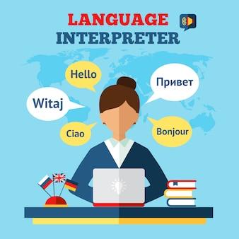 Ilustração de tradutor de linguagem