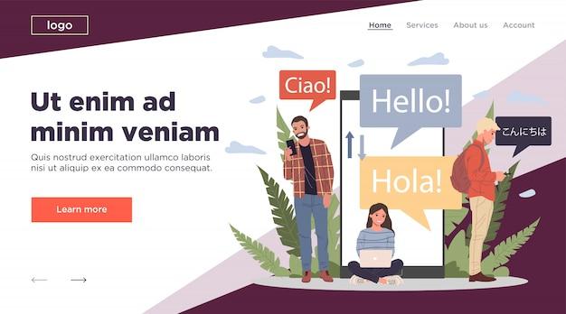 Ilustração de tradutor on-line em vários idiomas