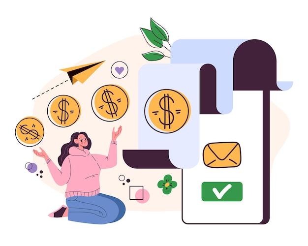 Ilustração de transação de recibo de notificação de pagamento
