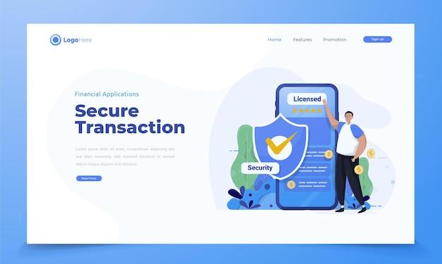 Ilustração de transação segura usando o conceito de aplicativo financeiro móvel Vetor Premium